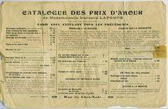 wunderkammer    Catalogue Des Prix D'Amour