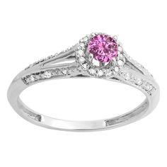 Elora 18k Gold 3/8ct TGW Pink Sapphire and Diamond Accent Split Shank Engagement Ring (I-J, I2-I3) (Size