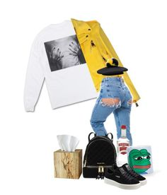 """You say midterms, I say tissues and straight Vodka out of a sad pepe mug."" by manfashionandstyle ❤ liked on Polyvore featuring Polaroid, Moschino, Michael Kors, Puma, Selamat Designs and Eugenia Kim"