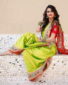 Image may contain: 1 person Marathi Saree, Marathi Bride, Marathi Wedding, Marathi Nath, Wedding Bride, Beautiful Girl Indian, Beautiful Saree, Beautiful Indian Actress, Kashta Saree
