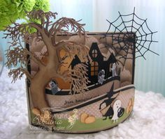 by Stamping with Bibiana: BENDI Fold For Halloween! using all Memory box dies Halloween Paper Crafts, Halloween Tags, Halloween Projects, Halloween Halloween, Tri Fold Cards, Fancy Fold Cards, Folded Cards, Pop Up, Fall Cards