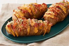 Grace your plate with the beauty of our Hasselback potato recipe. This Cheesy Bacon Hasselback Potato Recipe with chives is sure to be a new favorite.