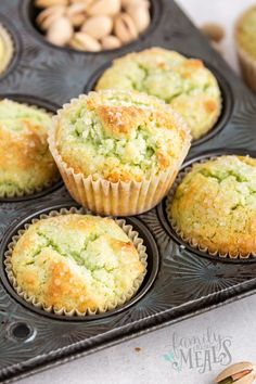 These green Pistachio Muffins are effortless to make and you also have the option of adding real pistachios if you wish. Pastry Recipes, Sweets Recipes, Muffin Recipes, Baking Recipes, Cake Recipes, Pistachio Muffins, Pistachio Dessert, Weight Watchers Meal Plans, Easy Summer Desserts