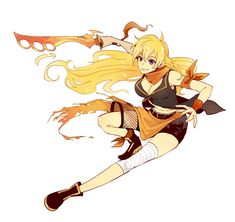 Rwby Fanart, Rwby Characters, Fictional Characters, Rwby Yang, Rwby Red, Body Reference, Black Feathers, Character Design References, Disney Cartoons