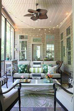 When people ask if I have any advice for what to add when building a house, my first answer is a screened porch! This room is our most lived-in room of the house from late spring to early fal… Screened In Porch Furniture, Screened Porch Decorating, Screened Porch Designs, Screened In Patio, Lanai Decorating, Florida Decorating, Sunroom Furniture, 3 Season Room, Three Season Room