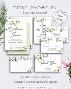 Rustic Wedding Invitation Suite Template, with bright watercolor greenery mistletoe graphics. Perfect for the brides on a budget in an elegant and professional way.This beautiful wedding invitation stationery set listing is an instant download EDITABLE PDF so you can download it right away, DIY edit and print it at home or at your local copy shop by Amistyle Digital Art on Etsy