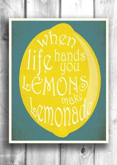 Lemonade typography print kitchen decor by Happy Letter Shop