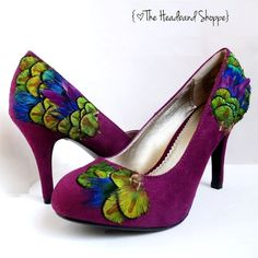 Peacock Shoes in Size 5 or 6.5  Berry Purple by TheHeadbandShoppe, $60.00