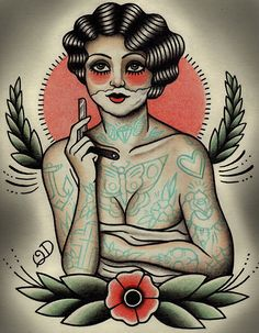 The+Shaving+Flapper+Tattoo+Art+Print+by+ParlorTattooPrints+on+Etsy,+$22.00