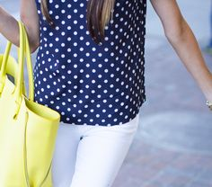 This is like my Jcrew polka dotted pants, my Kate Spade wallet, and my tank in a different order. LOVE