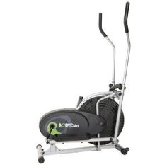 Body Rider Fan Elliptical Trainer with Mini Tool Box (fs). Patented elliptical motion design. Chain driven fan wheel runs quietly and smoothly. Dual-action handlebars allow upper and lower body workouts. Includes a workout video to guide user on product usage. Measures 25 by 9 by 36 inches (L x W x H).
