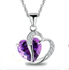 STERLING SILVER FACETED AMETHYST HEART PENDANT 925 SS CHAIN AND EARRINGS SET