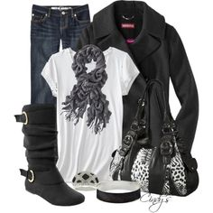 Cute outfit just would needs a splash of color.... diferent top maybe or scraf