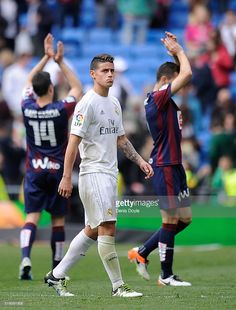 James Rodriguez of Real Madrid leaves the pitch at the end of the La Liga match between Real Madrid and Eibar at Estadio Santiago Bernabeu on April 9, 2016 in Madrid, Spain.