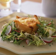 Goat Cheese Souffles in Phyllo Cups with Frisée Salad Recipe Phyllo Recipes, Salad Recipes, Phyllo Cups, Phyllo Dough, Cheese Souffle, Souffle Recipes, Catering Menu, Fresh Chives, Vegetarian Cheese