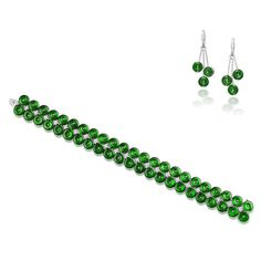 A jadeite and diamond bracelet and pendent earring suite (2)