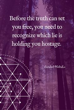 Before the truth can set you free, you need to recognize which lie is holding you hostage. ~ Rachel Wolchin