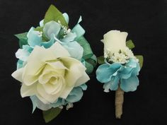 Beautiful Aqua Cream Silk Flower Rose Wrist Corsage and Boutonniere pieces Set) or Piece Corsage Only).Wrist Corsage has a large open Cream rose in the ce Hydrangea Corsage, Gold Corsage, Prom Corsage And Boutonniere, Flower Corsage, Corsage Wedding, Wrist Corsage, Corsages, Lily Wedding, Wedding Pins