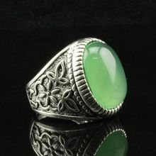 Promotion Fashion New Style Fine Jewelry Antique Silver Plated Green Stone Statement Vintage Rings for Women Engagement Wedding(China (Mainland))