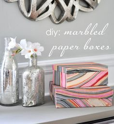 DIY marbled paper boxes.