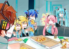 Meiko: You said she wouldn't suspect anything! Rin and Len: Oh dear Lawrd she found us Kaito: Uhhhhh. Luka: (doesn't notice Miku behind her) Vocaloid Kaito, Miku Chibi, Vocaloid Funny, Kaito Shion, Kagamine Rin And Len, Anime Manga, Anime Art, Kaai Yuki, Manhwa