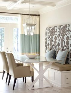 bench seating idea | Bench seat at dining room by janis