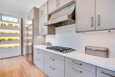 A Modern Vision of a Queen Anne Style Home with Light Grey Slab Fronts – Semihandmade Modern Kitchen Cupboards, Kitchen Slab, Kitchen Cabinet Colors, Kitchen Units, New Kitchen, Kitchen Design, Kitchen Ideas, Kitchen Counters, Kitchen Colors
