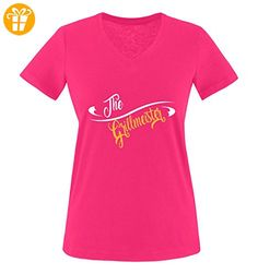 Comedy Shirts - The Grillmeister - Damen V-Neck T-Shirt - Pink / Weiss-Gelb Gr. L - Shirts mit spruch (*Partner-Link)