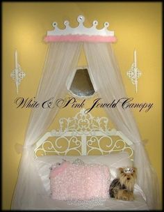 Items similar to PRINCESS Bed Canopy Tiara Crown Crib Nursery Bedroom Cornice Jeweled Rhinestone White Pink Marabou Rhinestones on Etsy Princess Canopy Bed, Princess Bedrooms, Bow Jewelry, Baby In Pumpkin, Tiaras And Crowns, Bed Canopies, Cribs, Cornice, Nursery
