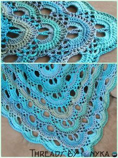 Crochet German Scallop Shawl Free Pattern - Crochet Women Shawl Sweater Outwear Free Patterns