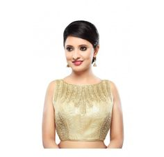 Embroidered golden bridal blouse