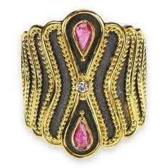Sapphire Drops Black Gold Ring