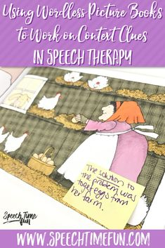 Using Wordless Picture Books to Work On Context Clues for speech and language therapy - simple and fun ways to build vocabulary and keep students engaged without a ton of prep!