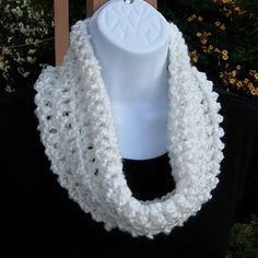 Solid White Summer Cowl  Soft & Lightweight White Cowl hand-crocheted with a high quality yarn. Because of the cuddly softness, the cowl is