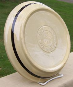 """Watt Pottery Eve-N-Bake Oven Ware Black Banded Pie Plate 9""""  $45    Perfect for your holiday pies!"""