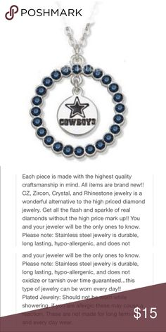 """New Dallas Cowboys Pendant and Necklace New Dallas Cowboys SP  Pendant in White and Blue Rhinestones made of Alloy Metal detail of description in pic Chain is 18"""" and Pendant is 1 x 1"""" Jewelry Necklaces"""