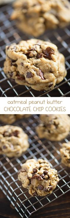So soft and chewy! These oatmeal peanut butter chocolate chip cookies will be a new favorite, for sure!