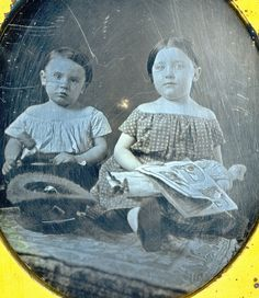 Kids With Toys Daguerreotype Closeup by Mirror Image Gallery