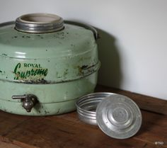 Vintage Antique Mint Green Thermos Cooler
