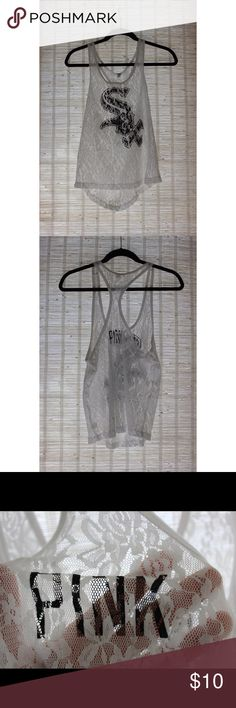 Victoria Secret Pink Chicago  White Sox Tank Top Lightly warn lace Victoria Secret Pink Chicago White Sox Tank Top.                                                                 ⭕️Willing To Bundle Items⭕️ Price was just reduced PINK Victoria's Secret Tops Tank Tops