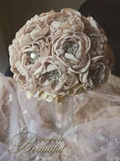 Blush Fabric Flower Peony and Brooch Bouquet - Custom Made :  wedding alternative bouquet bouquet brooch bouquet burlap diy bouquet diy flow...