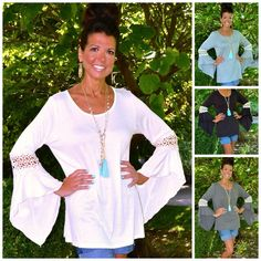 BOHO GYPSY Crochet Inset BELL SLEEVE TUNIC TOP S-M-L-XL Off White Black Grey $48 #WeekendinVegas #TunicKnitTop