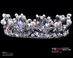 2013 Новый ручной работы из бисера Перл Кристалл тиара Свадебный головной убор невесты Корона Ювелирные изделия 9676 >> Диадемы