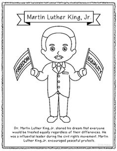 Charmant Martin Luther King, Jr. Coloring Page Craft With Biography, Civil Rights