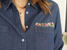 Discover recipes, home ideas, style inspiration and other ideas to try. Shirt Embroidery, Embroidery Fashion, Modern Embroidery, Embroidery Ideas, Jean Diy, Denim Button Up, Button Up Shirts, T-shirt Broderie, Diy Vetement