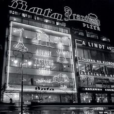 Prague neon signs via Vintage Neon Signs, Historical Photos, Vintage Images, Old Photos, Statues, Street Photography, Signage, Black And White, Retro