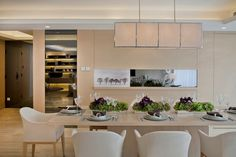 Fashionable Long Dining Room Lighting Inspiration Ideas Featured Modern White Chairs And Plywood Flooring