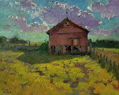 Barn Down the Street #6 by Debra Joyce Dawson, Oil, 8 x 10 Dandelion Oil, Tower Of Power, Pomegranate Oil, Geranium Oil, Utrecht, Barns, Pond, Oil On Canvas, Ohio