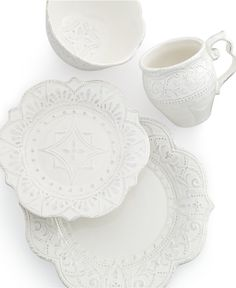 Maison Versailles Blanc Amelie Scalloped 4-Piece Place Setting - Casual Dinnerware - Dining & Entertaining - Macy's