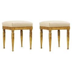 Shop stools and other antique and modern chairs and seating from the world's best furniture dealers. Vintage Stool, Neoclassical, Modern Chairs, Vanity Bench, Linen Fabric, Cool Furniture, Carving, Antiques, Home Decor